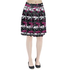 Magenta, White And Gray Decor Pleated Skirt