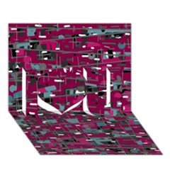 Magenta decorative design I Love You 3D Greeting Card (7x5)