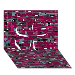 Magenta decorative design Clover 3D Greeting Card (7x5)