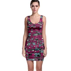Magenta decorative design Sleeveless Bodycon Dress
