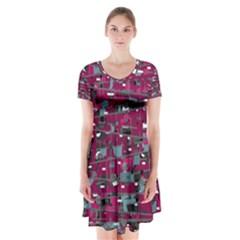 Magenta decorative design Short Sleeve V-neck Flare Dress