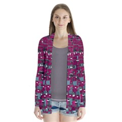 Magenta Decorative Design Drape Collar Cardigan