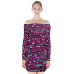 Magenta decorative design Long Sleeve Off Shoulder Dress