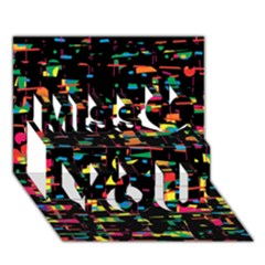 Playful Colorful Design Miss You 3d Greeting Card (7x5)