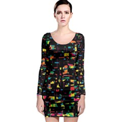 Playful colorful design Long Sleeve Bodycon Dress