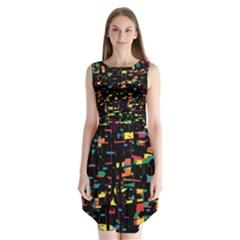 Playful Colorful Design Sleeveless Chiffon Dress