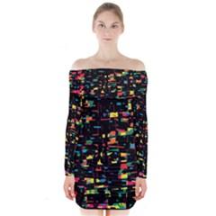 Playful colorful design Long Sleeve Off Shoulder Dress