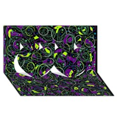 Purple and yellow decor Twin Hearts 3D Greeting Card (8x4)