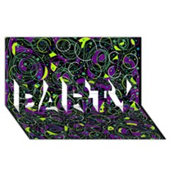 Purple and yellow decor PARTY 3D Greeting Card (8x4)