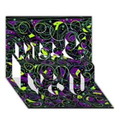 Purple And Yellow Decor Miss You 3d Greeting Card (7x5)