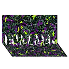 Purple and yellow decor ENGAGED 3D Greeting Card (8x4)