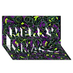 Purple and yellow decor Merry Xmas 3D Greeting Card (8x4)