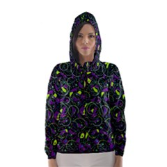 Purple and yellow decor Hooded Wind Breaker (Women)
