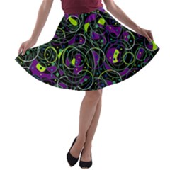 Purple and yellow decor A-line Skater Skirt