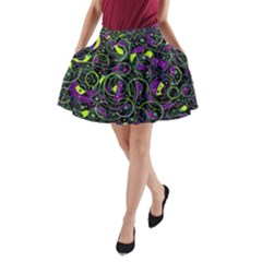 Purple and yellow decor A-Line Pocket Skirt