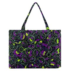 Purple and yellow decor Medium Zipper Tote Bag