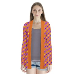 Vibrant Retro Diamond Pattern Drape Collar Cardigan