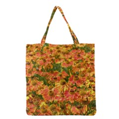 Helenium Flowers And Bees Grocery Tote Bag