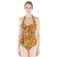 Helenium Flowers and Bees Halter Swimsuit