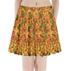 Helenium Flowers and Bees Pleated Mini Skirt
