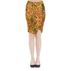 Helenium Flowers and Bees Midi Wrap Pencil Skirt