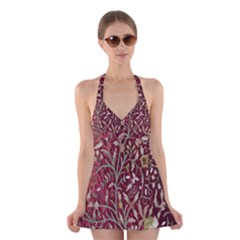 Crewel Fabric Tree Of Life Maroon Halter Swimsuit Dress