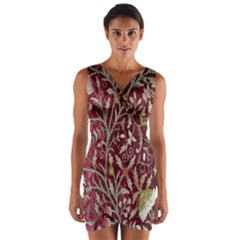 Crewel Fabric Tree Of Life Maroon Wrap Front Bodycon Dress