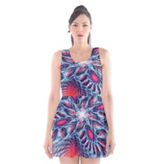Creative Abstract Scoop Neck Skater Dress