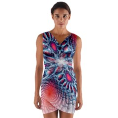 Creative Abstract Wrap Front Bodycon Dress