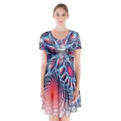 Creative Abstract Short Sleeve V-neck Flare Dress
