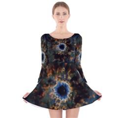 Crazy  Giant Galaxy Nebula Long Sleeve Velvet Skater Dress