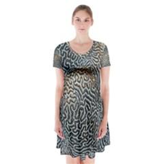 Coral Pattern Short Sleeve V-neck Flare Dress