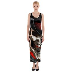 Confederate Flag Usa America United States Csa Civil War Rebel Dixie Military Poster Skull Fitted Maxi Dress
