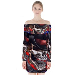 Confederate Flag Usa America United States Csa Civil War Rebel Dixie Military Poster Skull Long Sleeve Off Shoulder Dress
