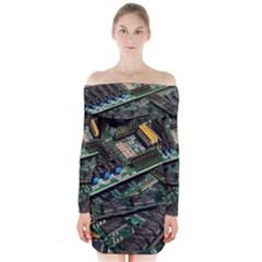 Computer Ram Tech Long Sleeve Off Shoulder Dress