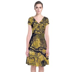 Colorful The Beautiful Of Traditional Art Indonesian Batik Pattern Short Sleeve Front Wrap Dress