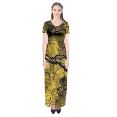 Colorful The Beautiful Of Traditional Art Indonesian Batik Pattern Short Sleeve Maxi Dress