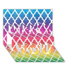 Colorful Rainbow Moroccan Pattern Miss You 3D Greeting Card (7x5)