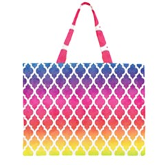Colorful Rainbow Moroccan Pattern Large Tote Bag