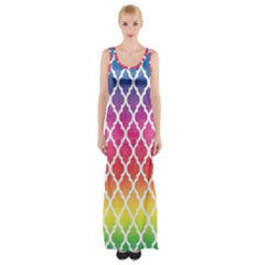 Colorful Rainbow Moroccan Pattern Maxi Thigh Split Dress