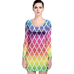 Colorful Rainbow Moroccan Pattern Long Sleeve Velvet Bodycon Dress