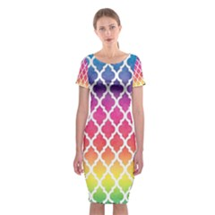 Colorful Rainbow Moroccan Pattern Classic Short Sleeve Midi Dress