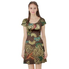 Colorful The Beautiful Of Art Indonesian Batik Pattern Short Sleeve Skater Dress