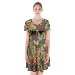 Colorful The Beautiful Of Art Indonesian Batik Pattern Short Sleeve V-neck Flare Dress