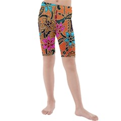 Colorful The Beautiful Of Art Indonesian Batik Pattern  Kids  Mid Length Swim Shorts