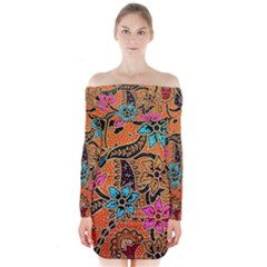 Colorful The Beautiful Of Art Indonesian Batik Pattern  Long Sleeve Off Shoulder Dress