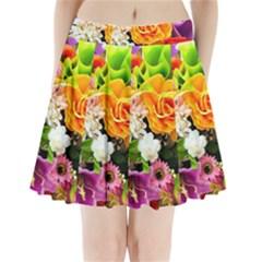 Colorful Flowers Pleated Mini Skirt
