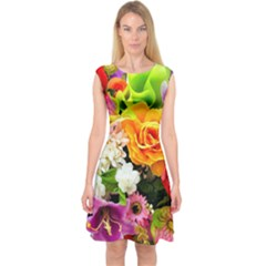 Colorful Flowers Capsleeve Midi Dress