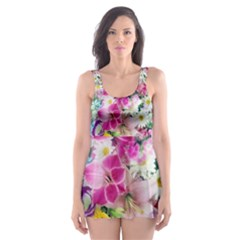 Colorful Flowers Patterns Skater Dress Swimsuit