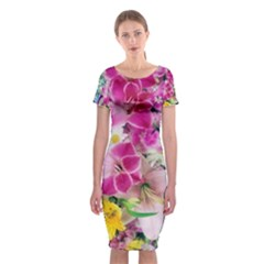 Colorful Flowers Patterns Classic Short Sleeve Midi Dress